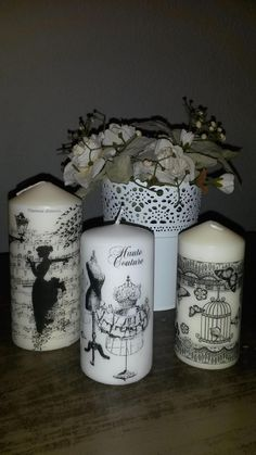 ** Learn To Decoupage Plain White Candles Homemade Candles, Diy Candles, Pillar Candles, White Candles, Candle Art, Candle Making Supplies, Ideias Diy, Candlemaking, Luxury Candles