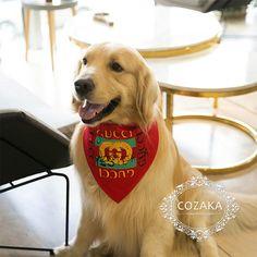 05b390c0f731 GUCCI 犬用バンダナ 三角 首輪 パロディ グッチ 猫用スカーフ 綿 かわいい ドッグ用ネッカチーフ