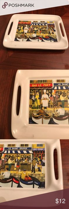 """Small colorful French Tray 8 X 5 """" Great condition. French porcelain tray featuring """" Une rue de Paris """" Other"""
