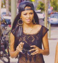 Black Mesh Top. Black Tassel Earrings. Black Leather Snapback. Swag. Urban Fashion. Urban Outfit. Kat Graham Style