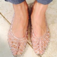 """Selling this """"American Apparel Clear Flat Lattice Jelly Sandals"""" in my Poshmark closet! My username is: poppychaingirl. #shopmycloset #poshmark #fashion #shopping #style #forsale #American Apparel #Shoes"""