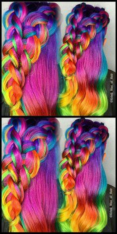 Pink braided rainbow dyed hair color @kristi_mac_of_hair