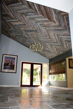 reclaimed wood herringbone pattern ceiling project - Reclaimed Wood Ceiling