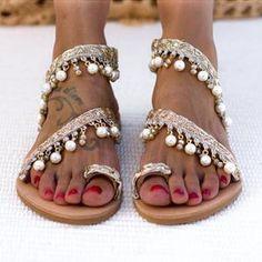 """Women wedding sandals, Bridal sandals Wedding shoes, Pearl sandals, wedding flat sandals, Handmade to order sandals """"Armonia"""" Pearl Shoes, Pearl Sandals, Bridal Sandals, Flat Sandals, Leather Sandals, Dressy Sandals, Boho Sandals, Flat Shoes, Low Heel Shoes"""