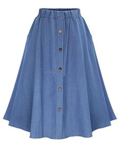 741859a68 Elastic Waist Denim Tea Skirt With Buttons Denim Flares, Blue Denim Jeans,  Long Skirts