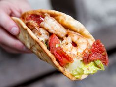 Shrimp Souvlaki (pita wrap sandwich w/ crunchy romaine, red onion, slightly grilled tomato)