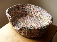 A pet basket, made from paper.