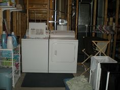 Cute Unfinished Basement Laundry Room