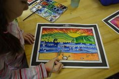 2nd grade Warm and Cool Colored Landscapes DSC_0048