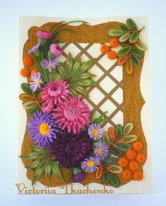 Delightful Autumn greeting card - Festive quilling card - Birthday quilling card - Astra flowers