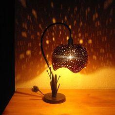 """Lampe de bureau """"nuit etoilee"""" courge calebasse"""