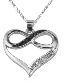 Order today Rhodium Plated Silver Infinity Love Heart Necklace with Black and White Crystals and more stylish infinity symbol jewelry at InfiniteSoldier.com