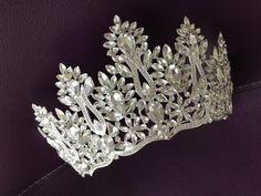 Silver Tiara Bridal Crown Crystal Wedding Tiara Wedding Hair | Etsy Bridal Hairpiece, Bridal Crown, Bridal Tiara, Beach Wedding Sandals, Silver Tiara, Wedding Gloves, Swarovski Stones, Crystal Wedding, Wedding Hair Accessories