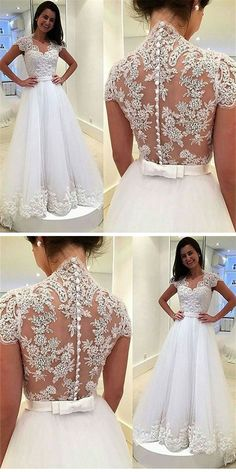 Modern V-neck Lace wedding dresses, Appliques Cap Sleeves elegant bride dresses, A-line Tulle Wedding party Dress With Button