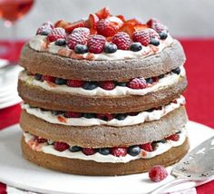 To celebrate National Baking Week we're drooling over this berry sponge cake. Make the most of British summer berries by piling them onto a stunning layered sponge Sponge Recipe, Sponge Cake Recipes, Genoise Sponge Cake Recipe, Genoise Cake, Paul Hollywood, Great British Bake Off, Paul Berry, Berry Cheesecake, Bbc Good Food Recipes