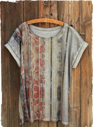 Our signature Persian floral motif is framed in authentic pattern stripes from an Andean manta. Our easy pima tee is printed on the front and back, then garment-dyed for a weathered look. Drop shoulders; turn-back cuffs; side vents.