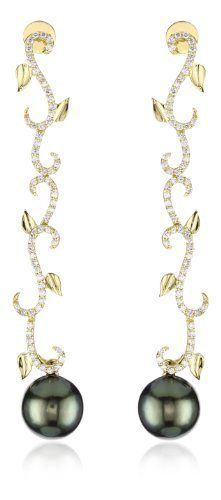 """Katie Decker """"Ivy"""" 18k Yellow Gold and Diamond with Tahitian Pearl Dangle Earrings by Katie Decker"""