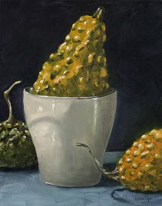 Taking A Dip - Lynn Cyr, fine artist (oil painting of fall/gourds)
