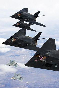 F-117A Nighthawks w/ F-22A Raptors