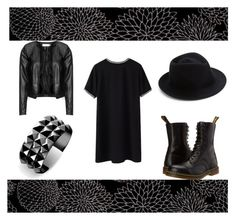 """black"" by dark-soul-xd on Polyvore featuring Zizzi, Dr. Martens, Eugenia Kim and Waterford"