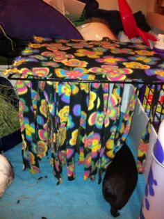 Fleece Forest, I would make one for the corner and have a little bed hiding behind all the fleece strips. A fun, private area for the ratties to hang out. Diy Rat Toys, Pet Toys, Chinchilla Toys, Rat Care, Guniea Pig, Bunny Cages, Small Animal Cage, Fancy Rat, Pet Guinea Pigs