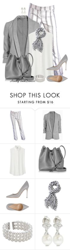 """""""Pinstripes and Pearls"""" by honkytonkdancer ❤ liked on Polyvore featuring John Galliano, Uniqlo, Lancaster, Sergio Rossi, L.L.Bean, John Lewis, Suzy Levian, classic, pearls and ClassicChic"""