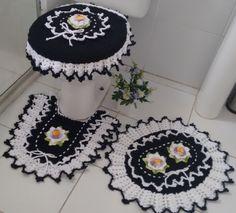 Jogo banheiro preto e branco Artesã: Ivana Guimarães