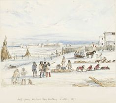 Fort Garry, Hudson's Bay Territory, Winter, 1857, Winter 1857, watercolour, touches of gouache, pen & ink, over graphite on wove paper, Alexander Moncrieff  Moncrieff, Alexander  Winter 1857  Purchased with the assistance of a Repatriation Grant under the Canadian Cultural Property Export and Import Act.  981.67.7  ROM2006_7476_1   Royal Ontario Museum Living In Dubai, Royal Ontario Museum, Fur Trade, Canadian History, Canada, Hudson Bay, Red River, Mountain Man, Historical Fiction