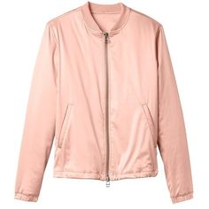 Derek Lam 10 Crosby Uptown Bomber Jacket ($98) ❤ liked on Polyvore featuring outerwear, jackets, nude pink, bomber style jacket, red flight jacket, blouson jacket, flight jacket and flight bomber jacket