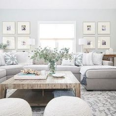 living room with comfy grey sectional sofa with mix of blue pillows in different. living room with comfy grey sectional sofa with mix of blue pillows in different patterns Cozy Living Rooms, Living Room Grey, Home Living Room, Living Room Furniture, Living Room Designs, Living Room Decor, Rustic Furniture, Modern Furniture, Antique Furniture