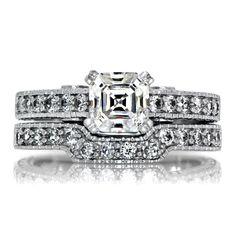 Sterling Silver Asscher Cut Cubic Zirconia Wedding Ring Set