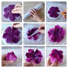 Tovade blommor med flera lager kronblad - Her Crochet Felt Diy, Handmade Felt, Handmade Flowers, Felt Crafts, Handmade Headbands, Handmade Rugs, Felt Flowers, Diy Flowers, Fabric Flowers