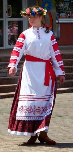 Girl wearing traditional costume of Belarus