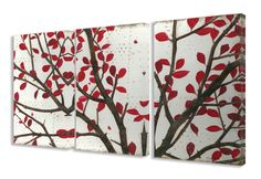 Crimson Leaves 3 pc Wrapped Canvas Wall Art Set
