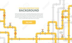 Illustration of Industrial background with yellow pipeline. Oil, water or gas pipeline with fittings and valves. Vector illustration in a flat style. vector art, clipart and stock vectors. Banner Template, Web Banner, Storyboard, Imperial Logo, Gas Pipeline, Standard Oil, Industrial, Oil Water, Foto Instagram