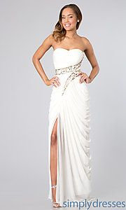 Buy Long Strapless Dress with Grecian Drape at SimplyDresses