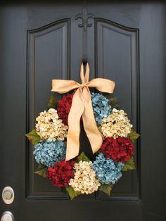 Patriotic Wreaths,July 4th Wreaths,Vintage Inspired,Summer Wreaths,Hydrangeas,Primitive Decor,Wreath,Cottage Chic Decor on Etsy, $80.00