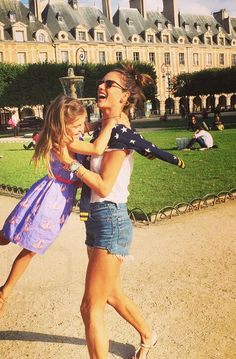 Alessandra Ambrosio With her family in Paris wearing Wildfox star sweatshirt