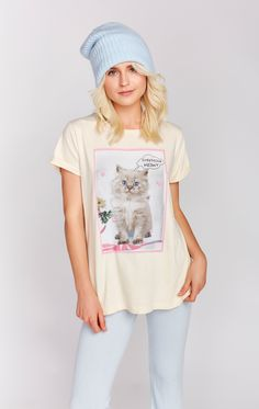 You've got to be kitten me. You're stressin' meowt! A deliciously soft crew neck tee with a slouchy fit. Center seam in the back. In Vanilla Latte. 100% Cotton  Model wears a size small
