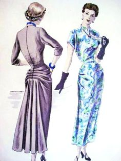 Stunning Cocktail Evening Dress Pattern Vogue Special Design 4942 Striking Back Interest Horizontal Pleats Flared Fullness Lovely Hip Drapery Unique Style Bust 34 Vintage Sewing Pattern Vogue Dress Patterns, Evening Dress Patterns, Vintage Vogue Patterns, Dress Making Patterns, Evening Dresses, 1940s Dresses, Vintage Dresses, Vintage Outfits, Moda Vintage