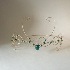 Items similar to Gold forhead circlet with dark green beads on Etsy Cute Jewelry, Unique Jewelry, Circlet, Wire Weaving, Wire Crafts, Tiaras And Crowns, Looks Vintage, Just In Case, Fairy Tales