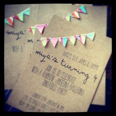 Party Invitations  Cute bunting handmade party by miyaandco, $10.00