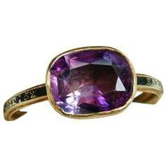 Georgian Amethyst Black Enamel Gold Ring