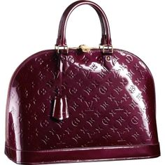 """Louis Vuitton Alma MM Monogram Vernis M91687 Handbags:Inspired by the shape invented in the 30s by Gaston Vuitton, the Alma MM is a classic of the House. Hand held, this bag is covered with Monogram Vernis leather and is closed with a padlock.  * Size:15.1"""" x 11.2"""" x 7.5"""" * Double zip for secure closing * Two interior flat pockets, one phone pocket * Textile lining * Golden brass metallic pieces * Carried by hand or at the elbow"""