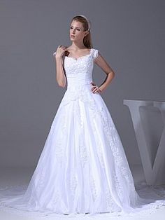 V Neck A Line Tulle over Satin Wedding Gown with Beaded Appliques - USD $225.00