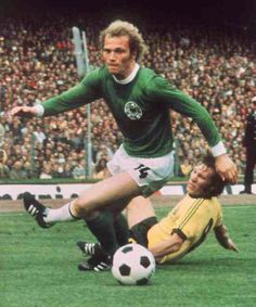 West Germany 3 Australia 0 in 1974 in Hamburg. Uli Hoeness beats Jimmy Mackay in Group 1 at the World Cup Finals.