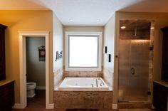 Bathroom - yes please ! Corner Bathtub, Alcove, Bathrooms, Home, Bathroom, Full Bath, Ad Home, Homes, Bath
