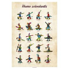 Homo scivolantis in Art > Art Posters Art Posters, Stamps, Character, Seals, Postage Stamps, Stamp, Lettering