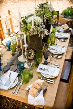 woodland theme table scape