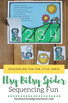 Your preschoolers will love this Itsy Bitsy Spider sequencing activity! It's so colorful, and it's the perfect sequencing activity for your spider theme! Rhyming Preschool, Sequencing Activities, Preschool Learning Activities, Preschool Themes, Interactive Activities, Sequencing Cards, Itsy Bitsy Spider, Have Fun Teaching, Teaching The Alphabet